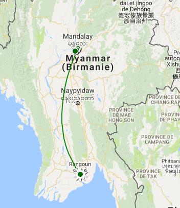Carte Yangon Mandalay Amarapura Inwa