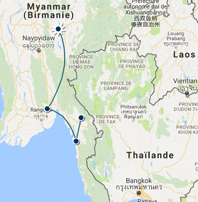 Itineraire Nyaung shwe Inle Bago Malwayine Hpa-An