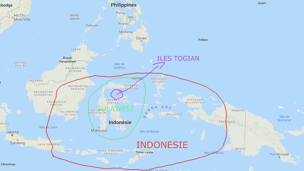 Carte îles togian sulawesi Indonésie