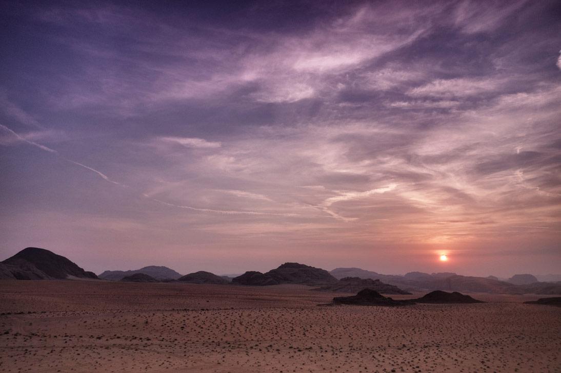 coucher de soleil rose Wadi Rum